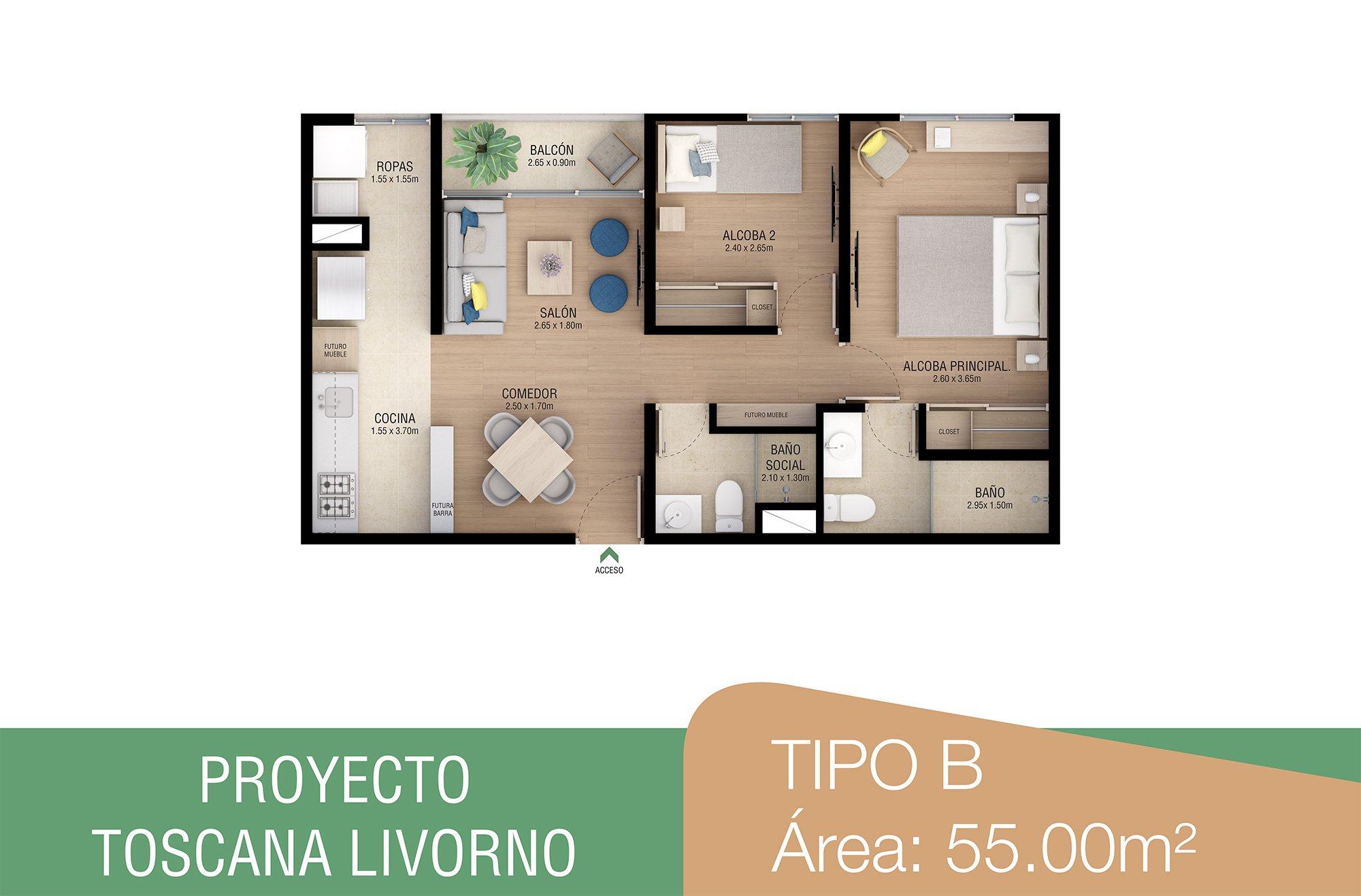 toscana-livorno-apartamentos-sabaneta-tipob